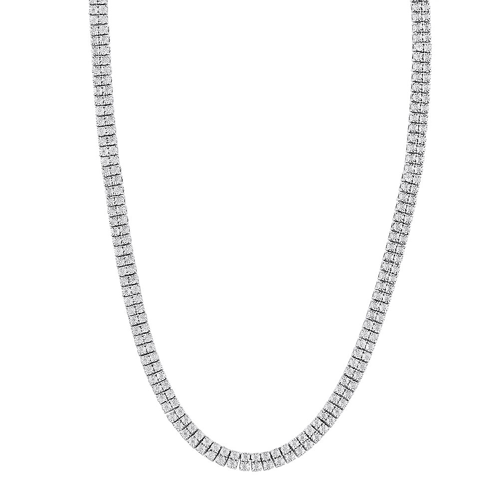 Mens Diamond Tennis Necklace in Real Sterling Silver 2 Rows Genuine Diamonds White Image