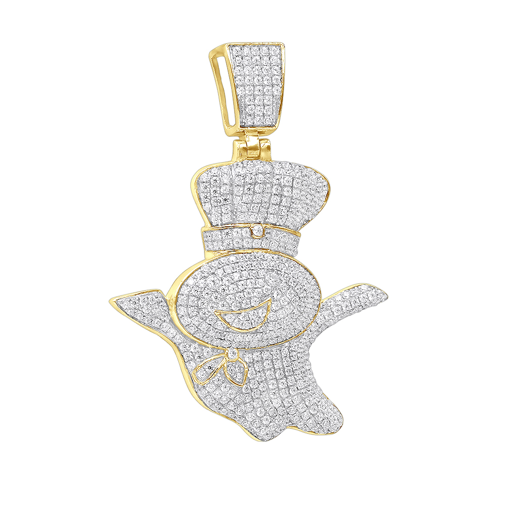 Mens Jewelry Real 10K Gold Diamond Pillsburry Doughboy Pendant for Men 1.33Ct Yellow Image