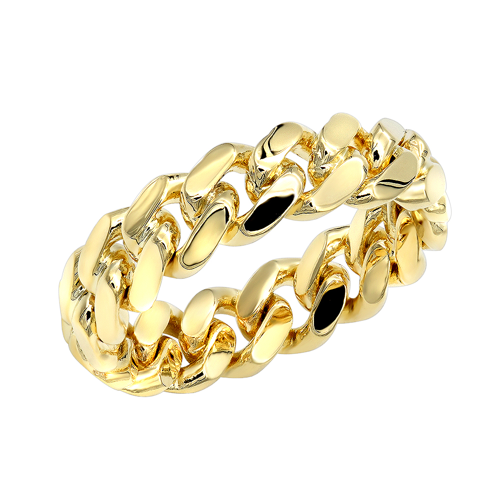Miami Cuban Link Chain Ring for Men 14k Gold 5.5mm by Luxurman Yellow Image