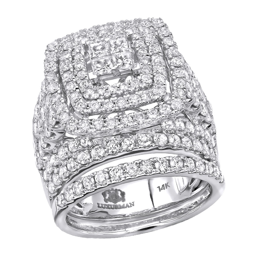 Oversized 4 Carat Round Princess Cut Diamond Engagement Ring Set 14k Gold White Image