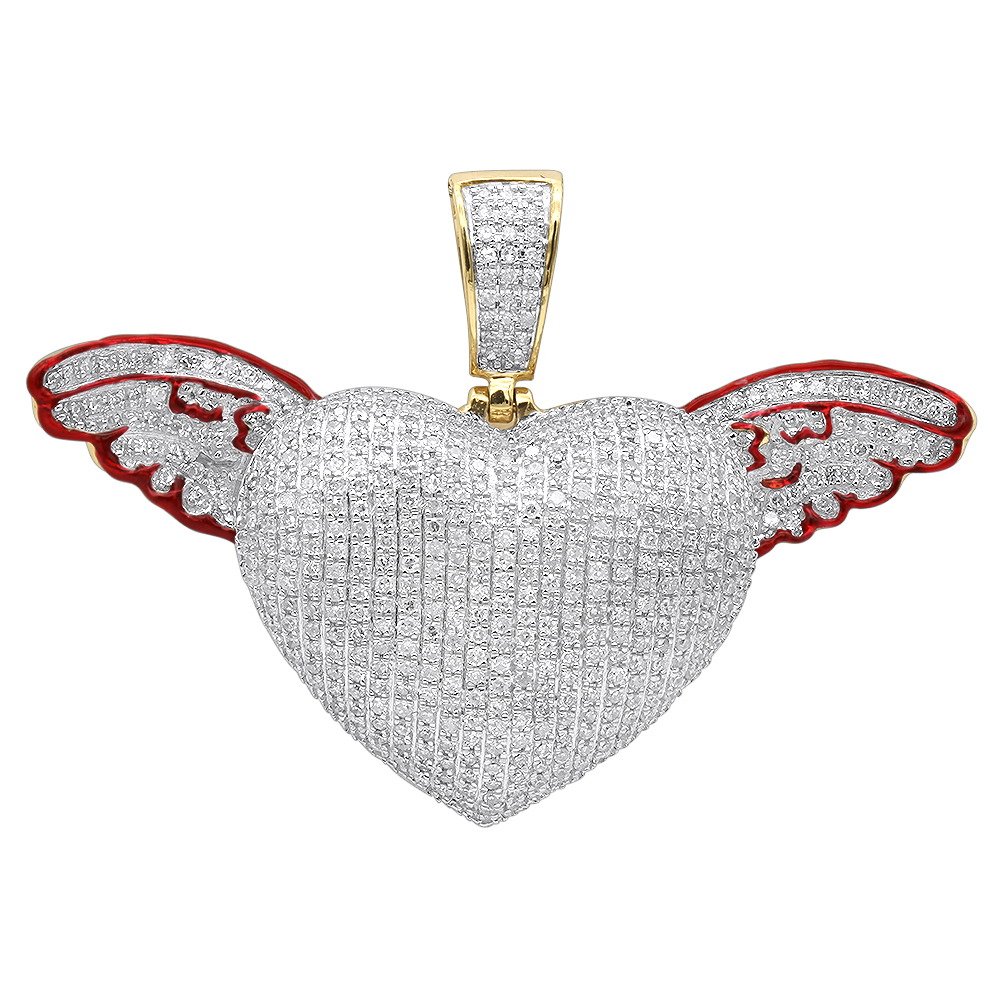 Pave 14k Gold Diamond Heart with Angel Wings Pendant for Women 1.5ct Yellow Image