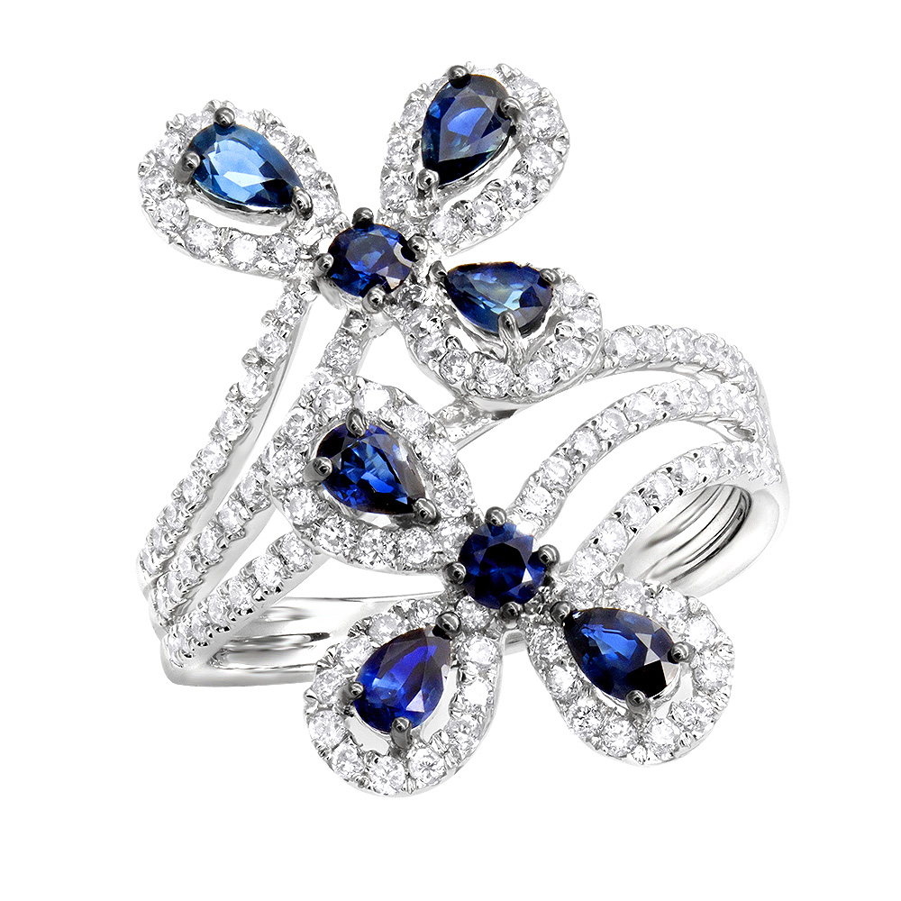 Pear Cut Sapphire and Diamond Flower Bloom Cocktail Ring for Women 14K Gold White Image