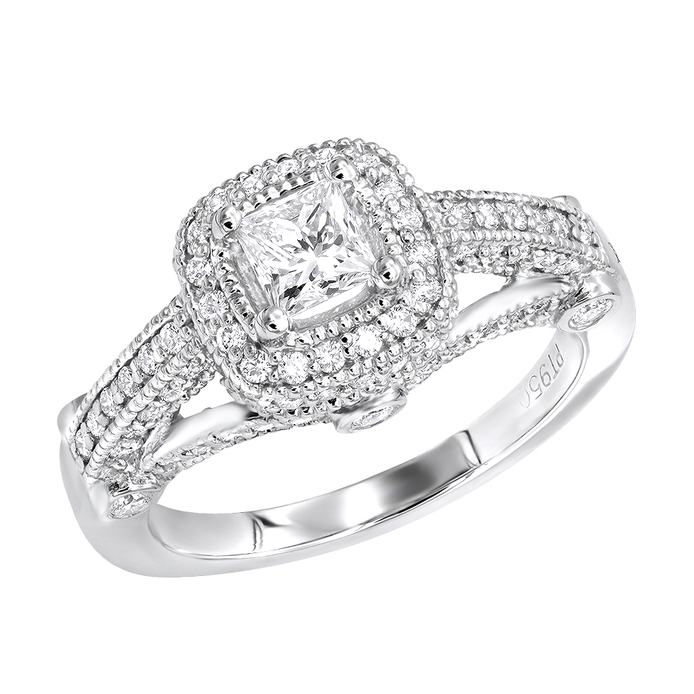 Platinum 1.3 Carat Vintage Style Halo Princess Cut Diamond Engagement Ring for Women White Image