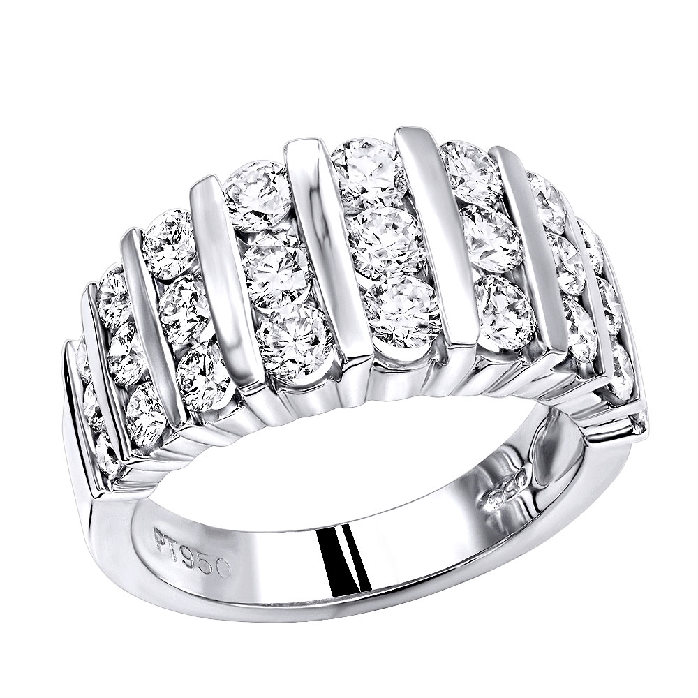 Platinum Anniversary Rings Multi Row Ladies Diamond Wedding Band 2.19CT VS White Image