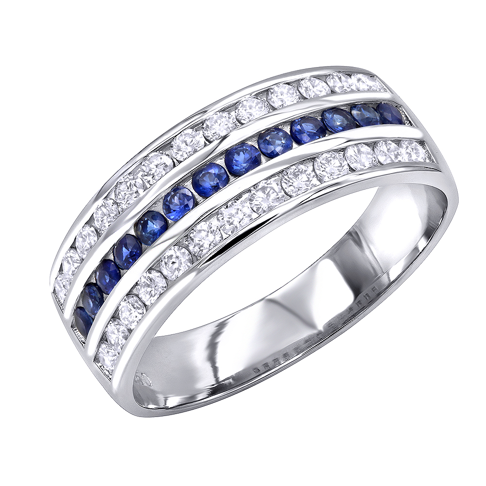 Platinum Sapphire and Diamond Wedding Band for Men or Women by Luxurman White Image