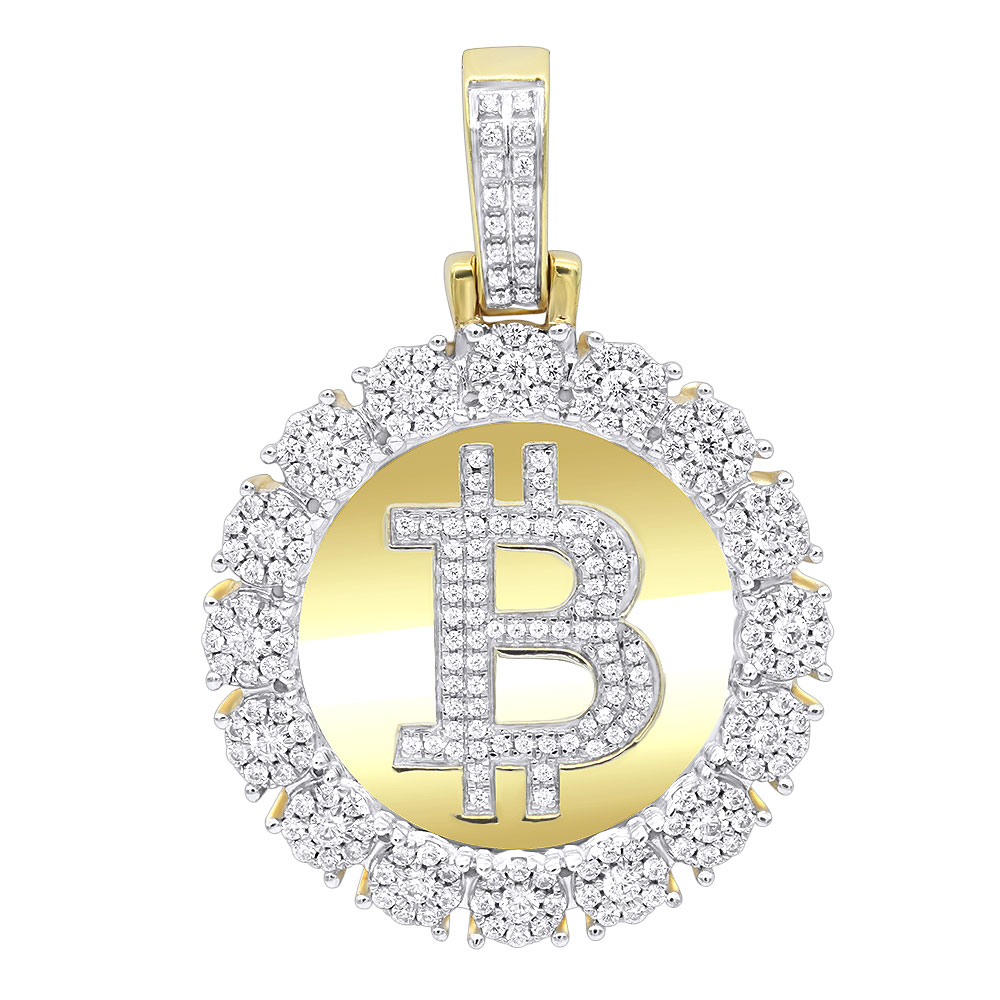 Real 10k Gold Bitcoin Pendant with Diamonds 2 Carat Mens Circle Charm Yellow Image