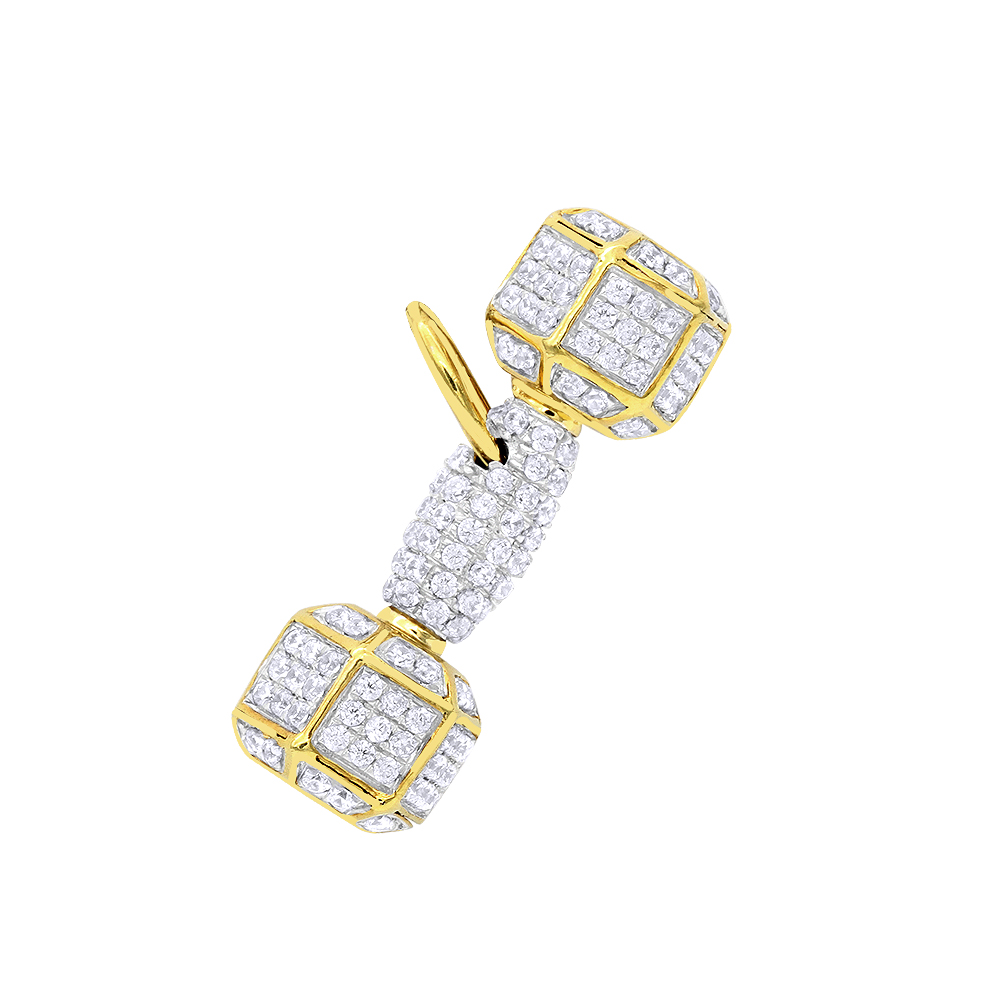 Real 10K Gold Dumbbell Pendant Genuine Diamonds Charm Barbell Necklace 1.2c