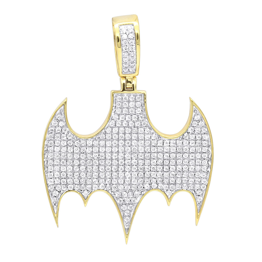 Real 10K Gold Iced Out Batman Logo Pendant for Men 1 Carat of Diamonds Yellow Image