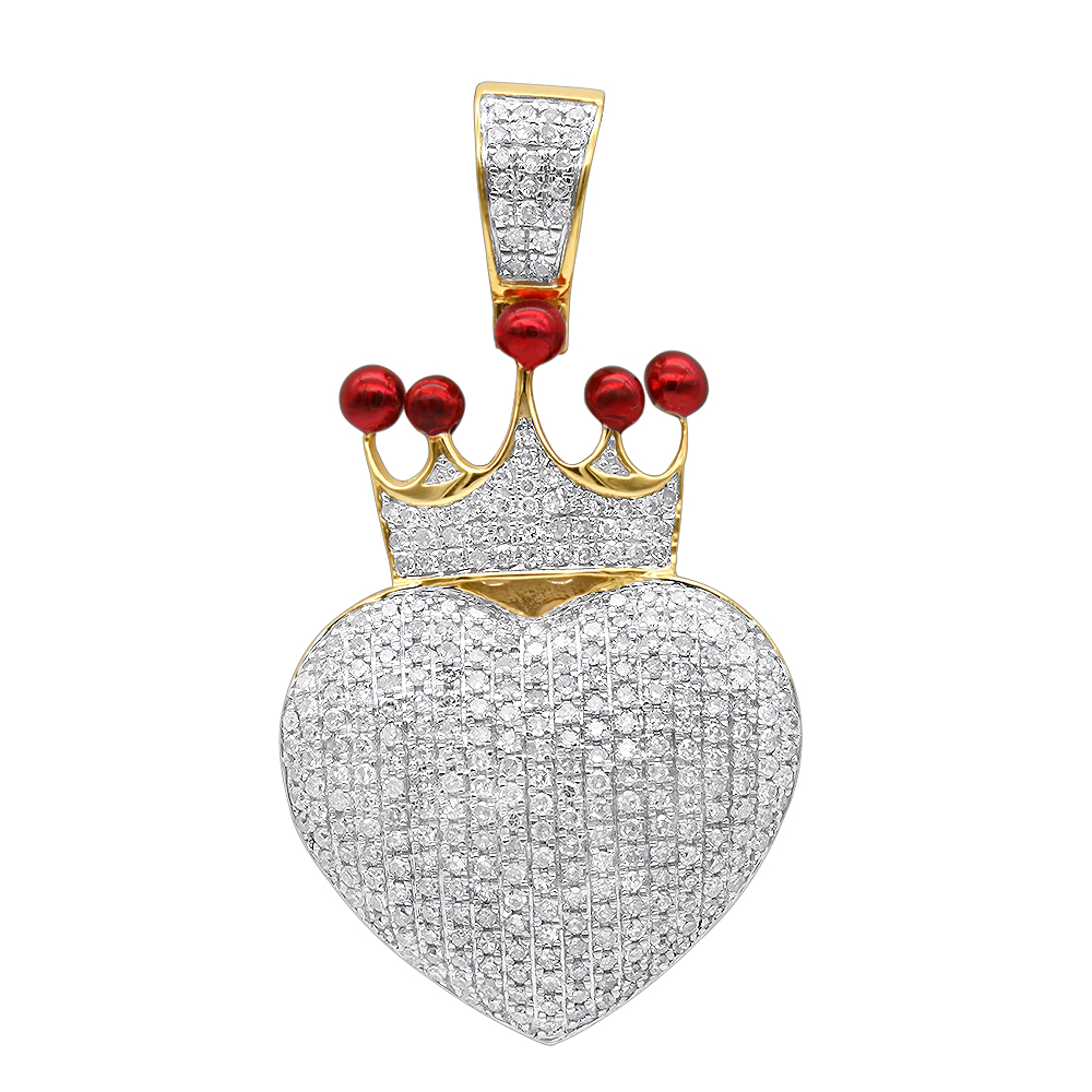 Real 14K Gold Fully Iced Out Puffed Diamond Crown Heart Pendant 1 Carat Yellow Image
