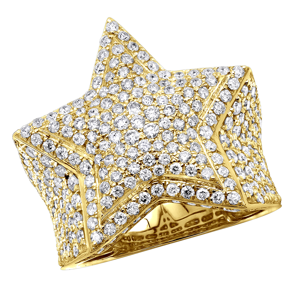 Real 14K Gold Hip Hop Jewelry Star Diamond Pinky Ring For Men 3.65ct