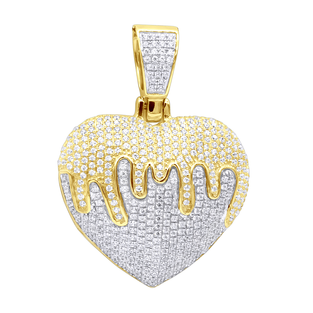 Real 14k Gold Iced Out Dripping Heart Diamond Pendant for Women 1.3ct Yellow Image