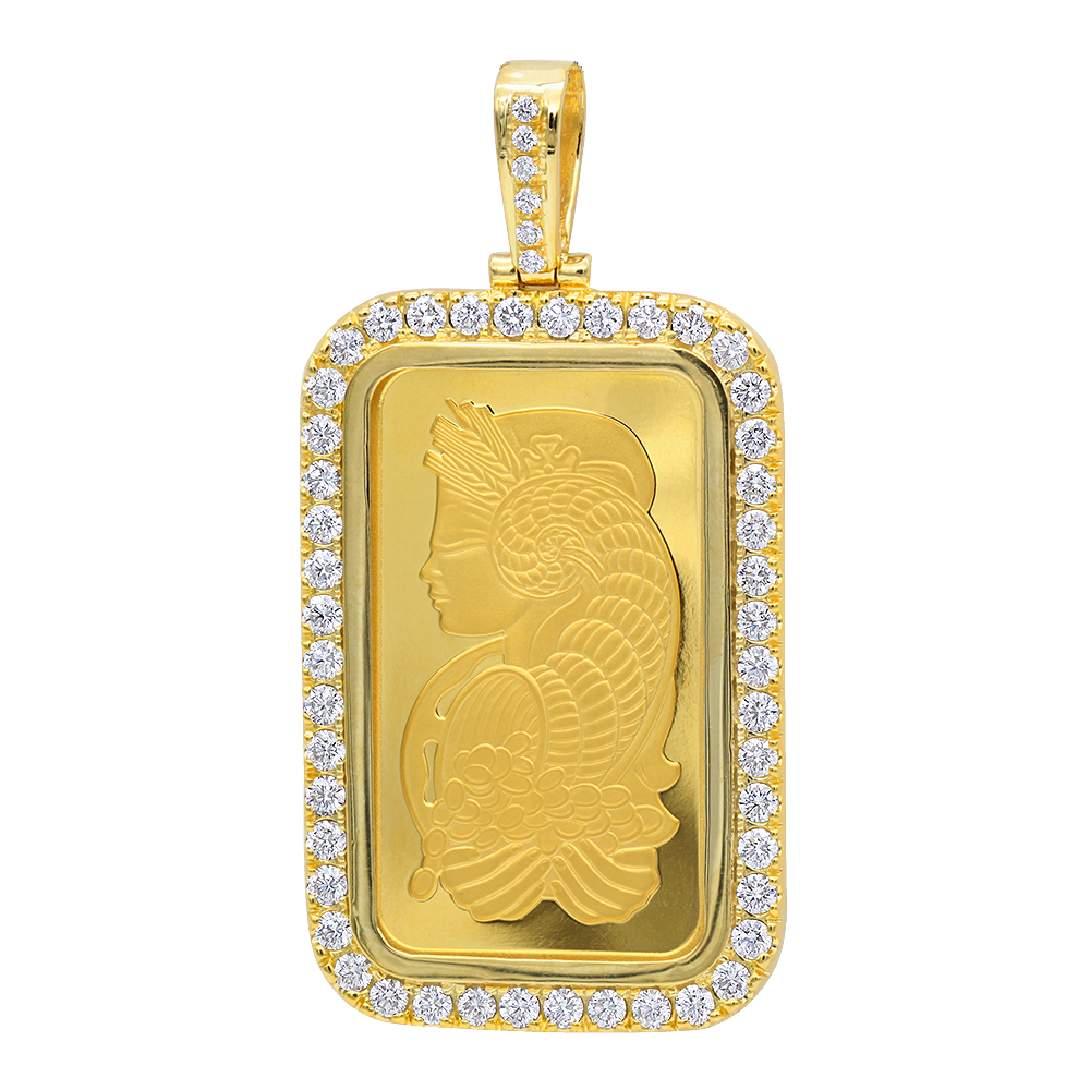 Real 99.9 Gold 1 Ounce Pamp Suisse Bar Lady Fortuna G VS Mens Diamond Pendant Yellow Image