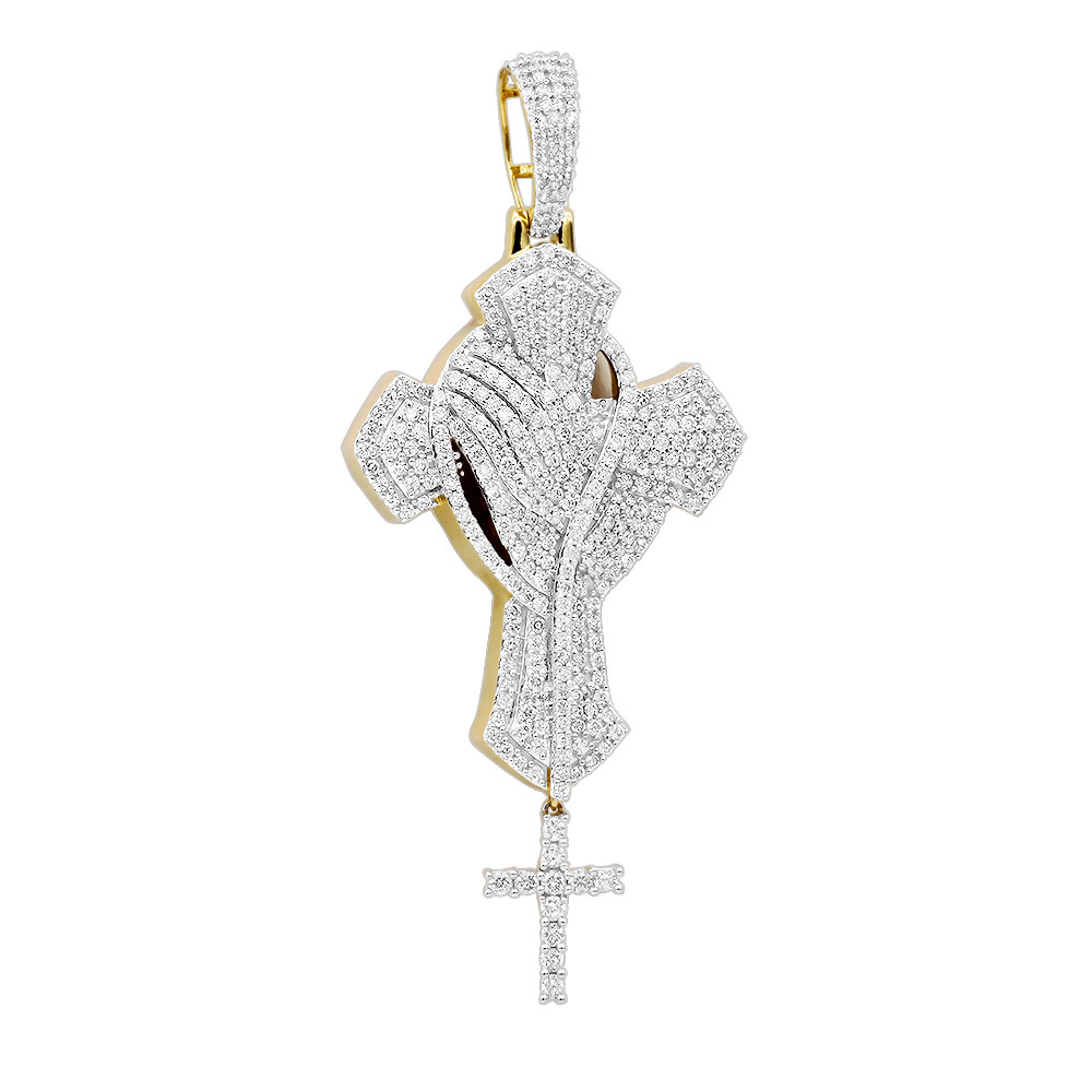 Religious Jewelry Unique 14k Gold Large Mens Diamond Cross Pendant with Rosary Yellow Image