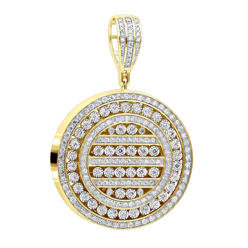 Round Diamond Medallion Pendant for Men and Women 2 Carat 14K Gold Yellow Image