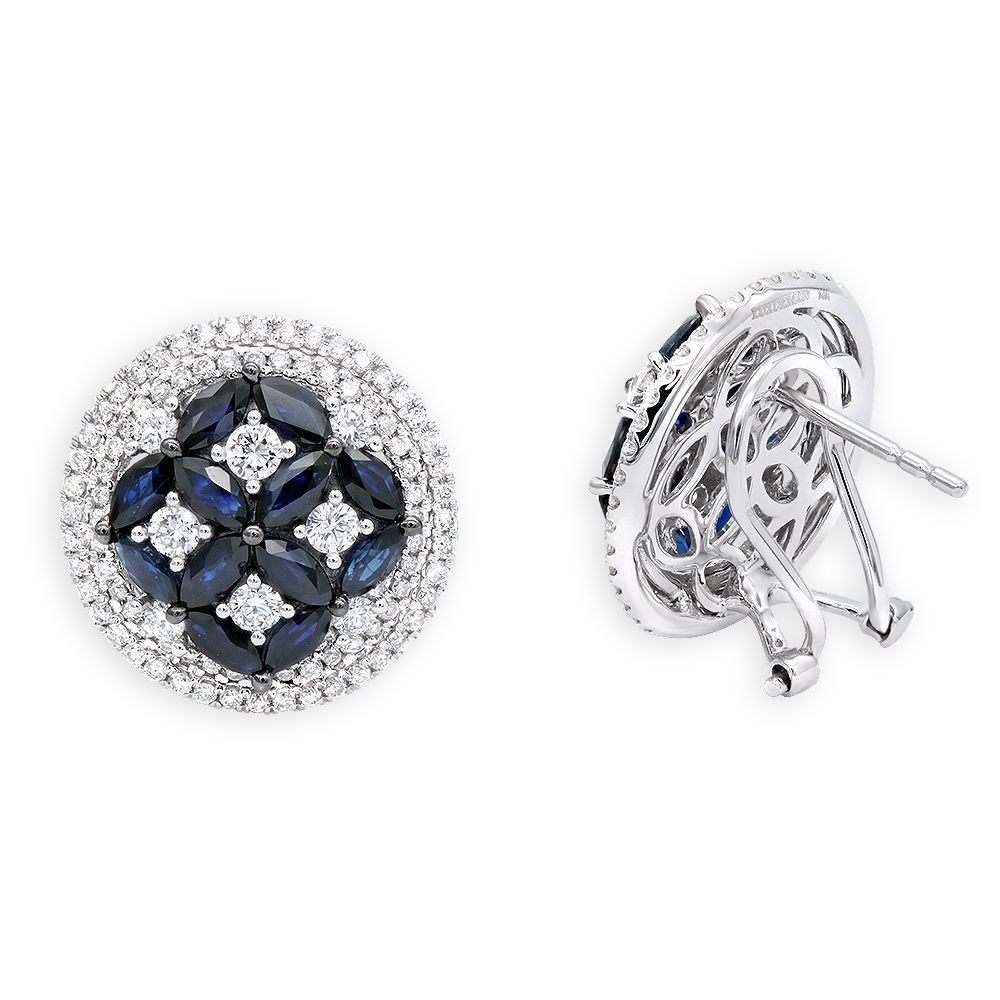 Royal Halo Circle Diamond Earrings For Women with Sapphires 14K Gold  White Image