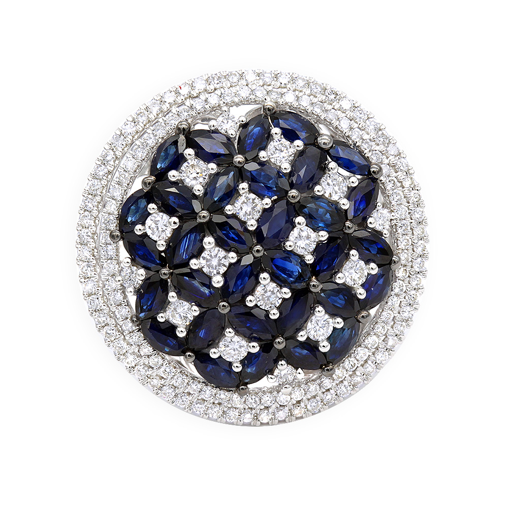 Royal Halo Round Diamond Right Hand Ring for Women with Sapphires 14K Gold White Image