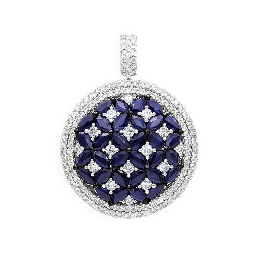 Royal Halo Round Shape Diamond Pendant For Women with Sapphires 14K Gold  White Image