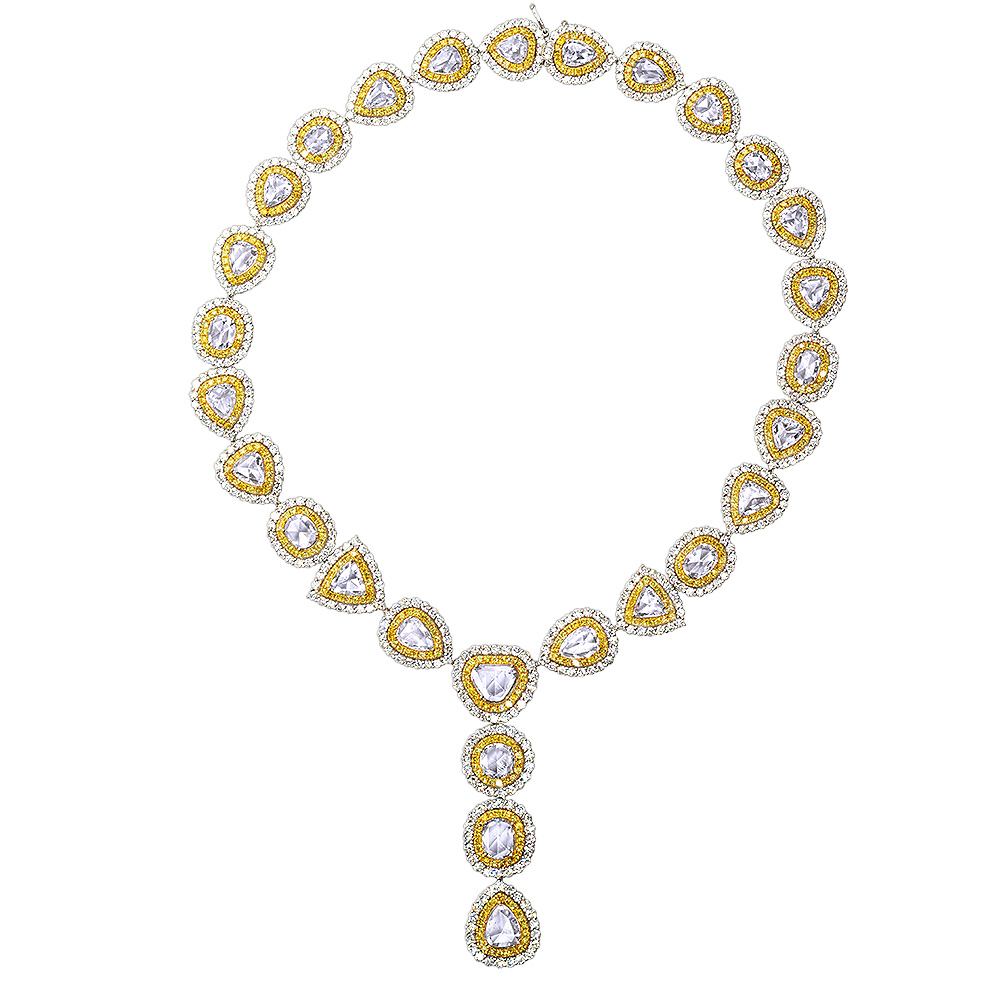 Royal Style Ladies Yellow and White Diamond Necklace in 18K Gold 53.17ct White Image