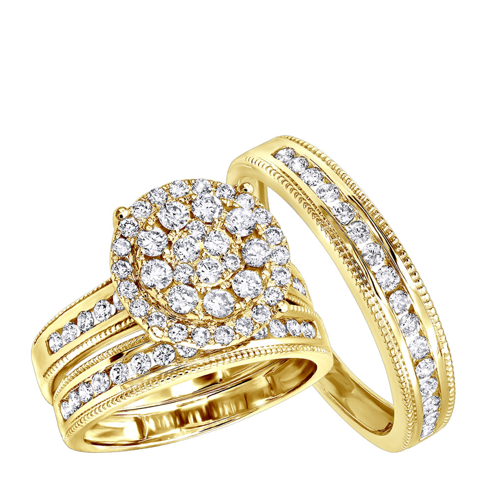 Royal Trio Wedding Band Set: Diamond Engagement Ring Set 1.75CT 14K Gold  Yellow Image