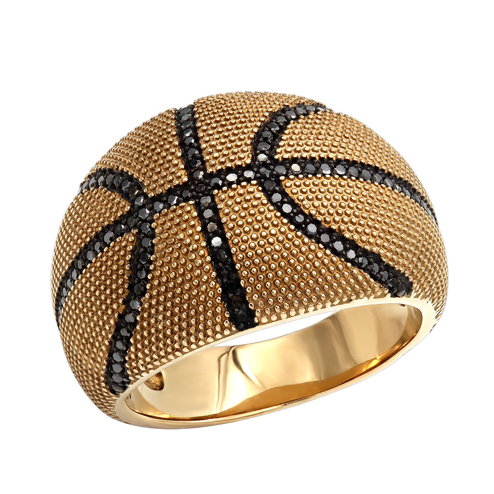 Slam Dunk Basketball Black Diamond Ring For Men in Sterling Silver 0.33ct Yellow Image