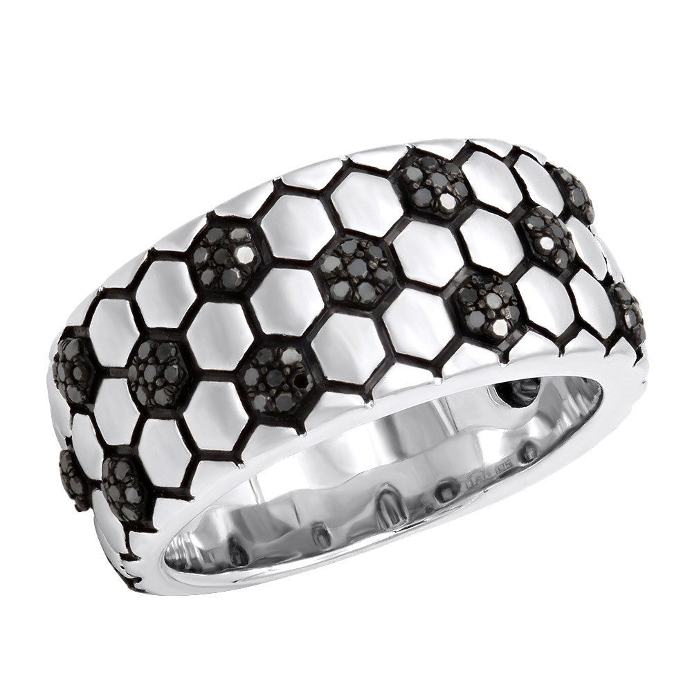 Soccer Ball Ring Black Diamond Band for Men in Sterling Silver 0.33 White Image