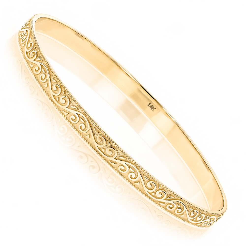 Solid 14K Gold Floral Bangle Bracelet for Women by Luxurman Yellow Image