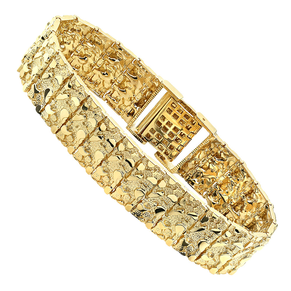 Solid 10K White Rose or Yellow Gold Nugget Style Bracelet for Men 20mm Yellow Image