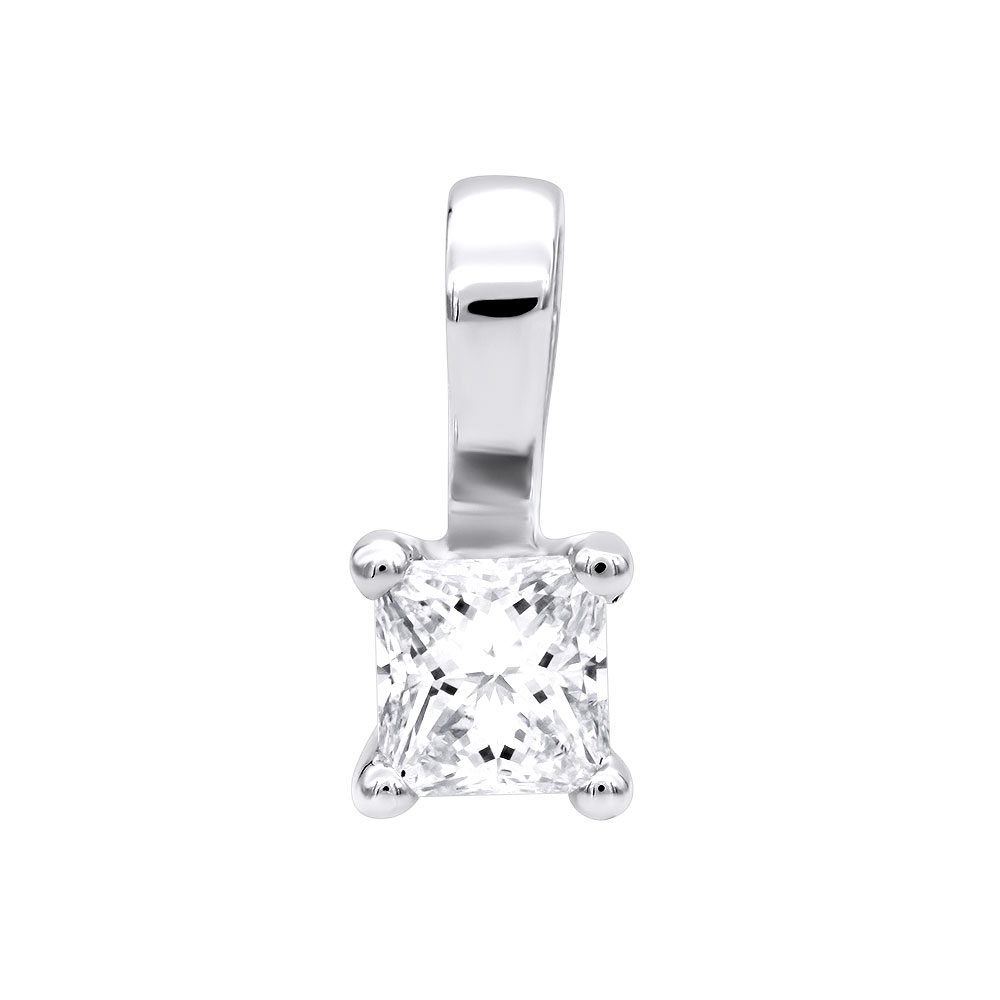 Solitaire Princess Cut Diamond Pendant for Women 14K Gold Charm 0.2CT White Image