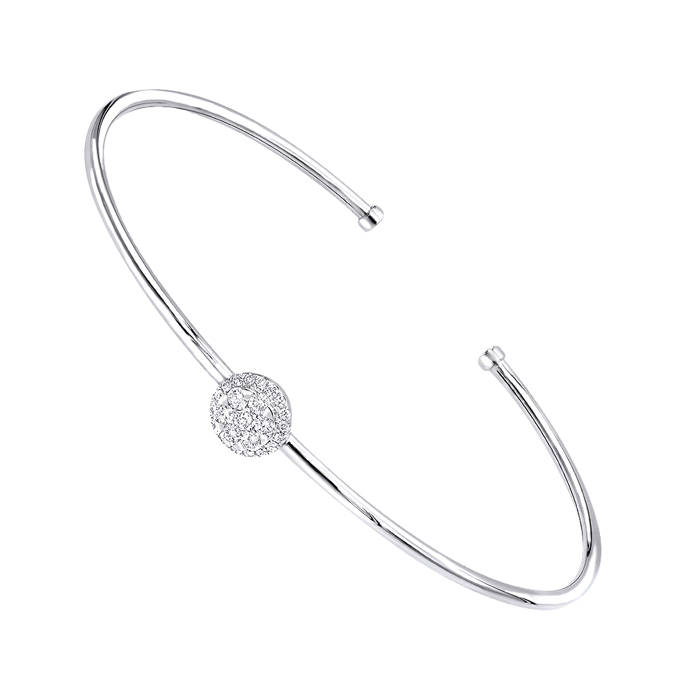 Stackable 14k Gold Pave Diamond Bangle Bracelet for Women 0.42ct  Luxurman White Image
