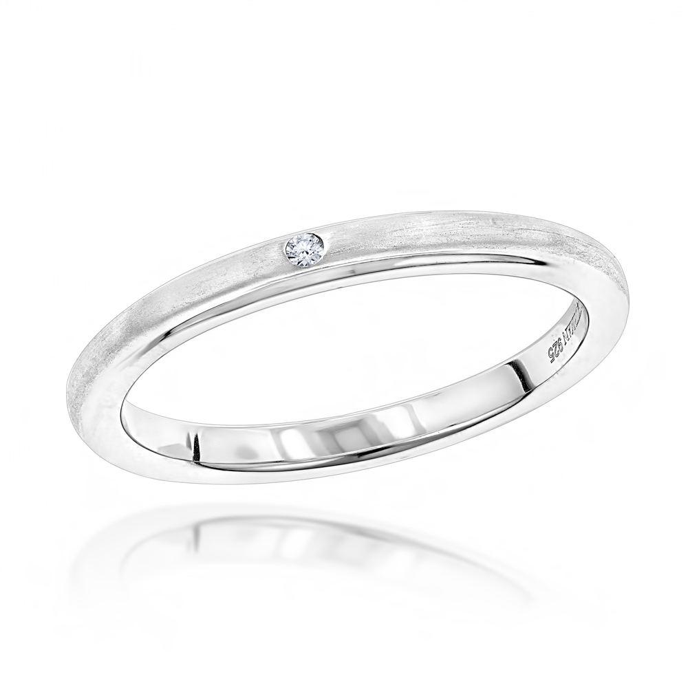 Stackable Bands Sterling Silver Genuine Diamond Ring for Women Love Quotes Main Image