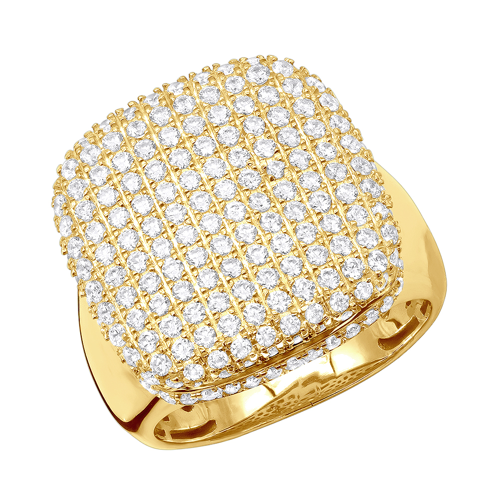 Statement and Pinky Rings Collection 10K Gold 3 Carat Diamond Ring For Men Yellow Image