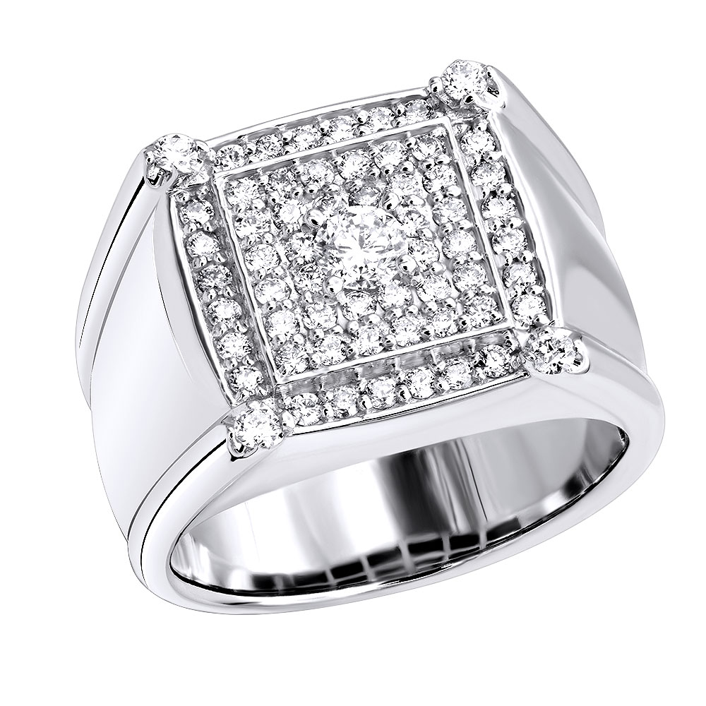 Statement Jewelry 14k Gold Solitaire Diamond Ring for Men 1.2 Carats White Image