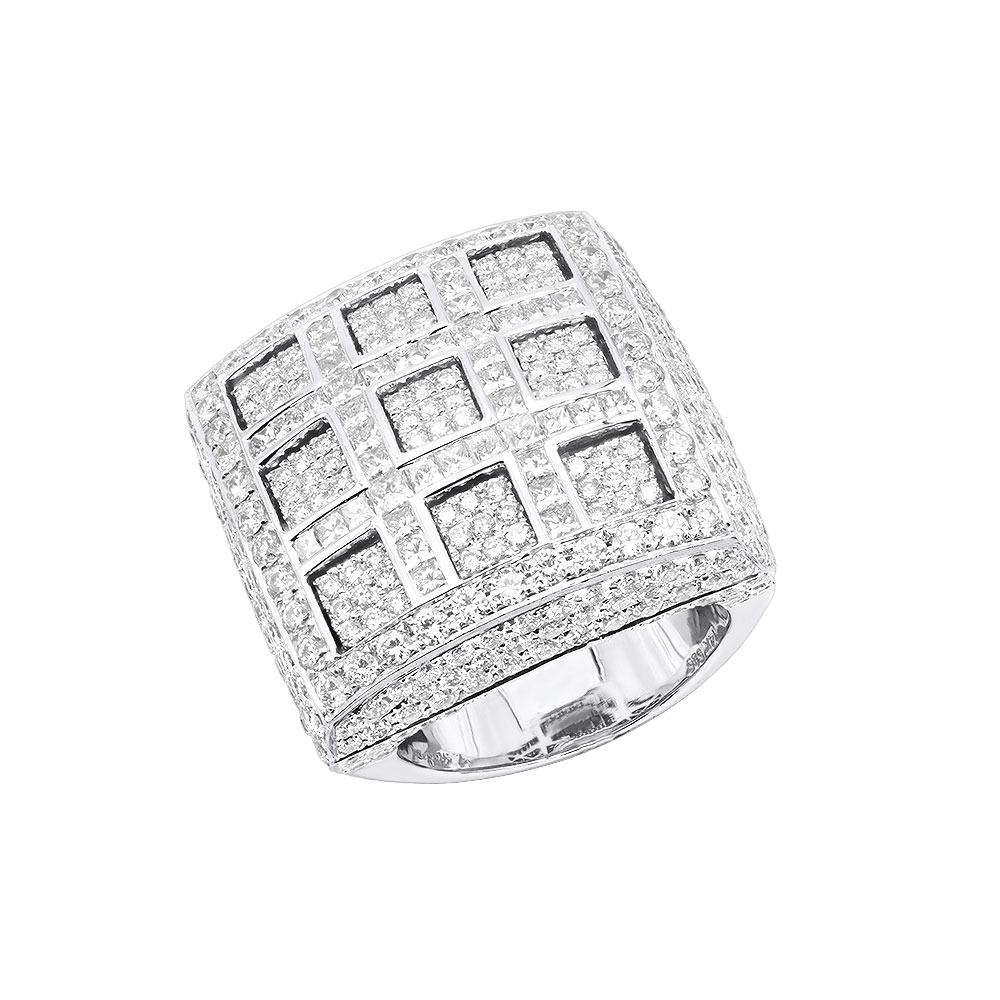 Statement Unique Large 3D Squares Joe Rodeo Mens Diamond Ring 14K Gold 9.36Ct White Image