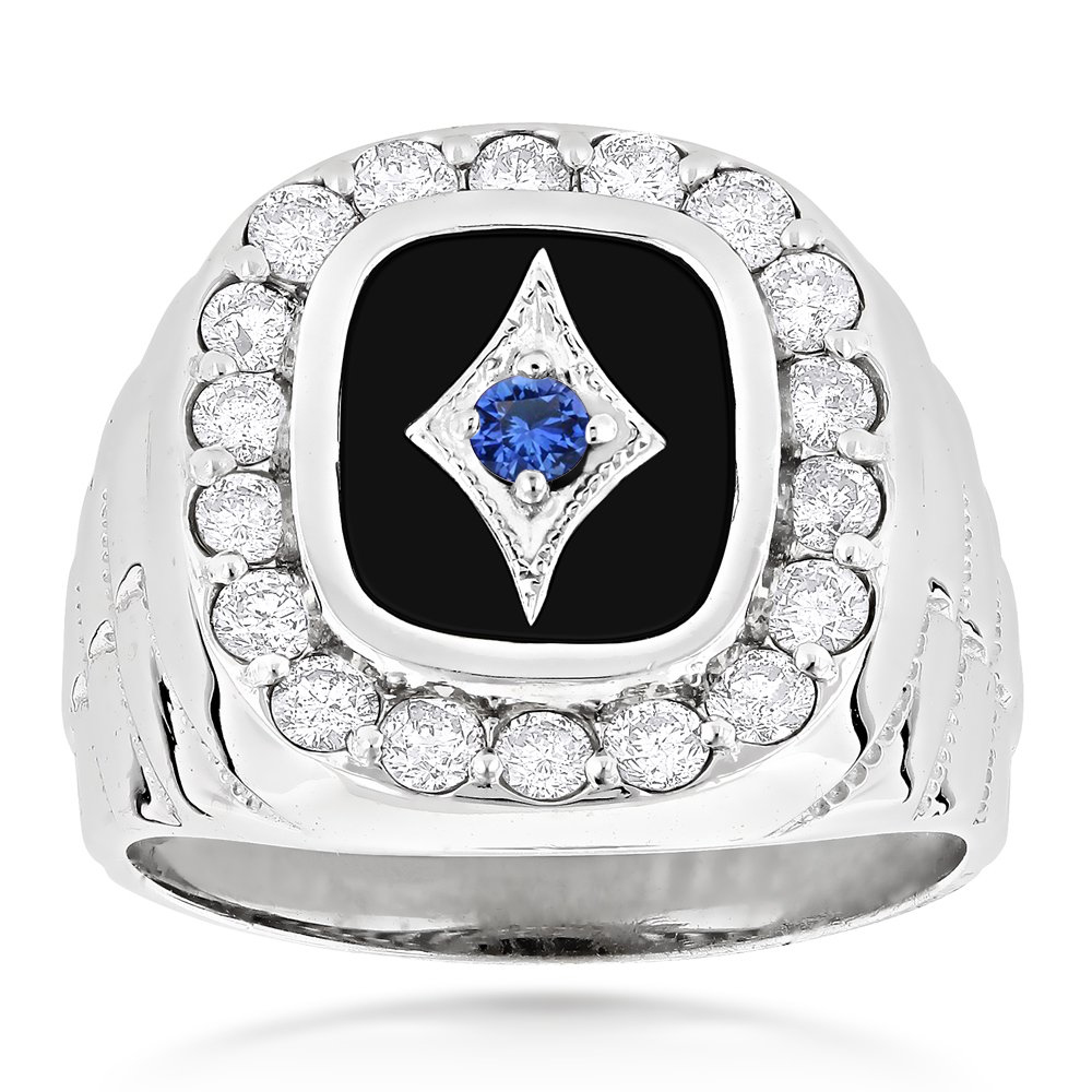 Unique 14K Gold Black Onyx Blue Sapphire White Diamond Mens Ring 1.68ct