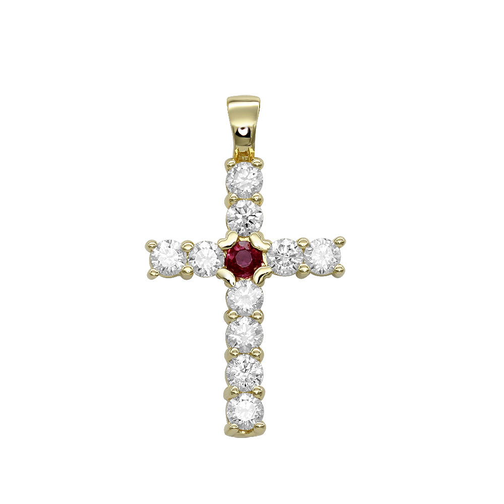 Unique 14K Gold Ruby and Diamond Cross Pendant for Women 1.33ct by Luxurman Yellow Image
