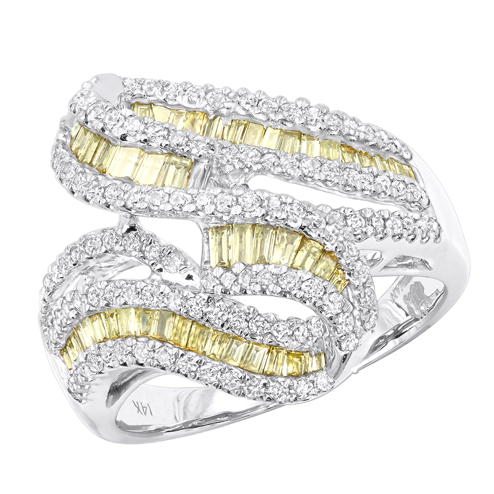 Unique 14K Gold White and Yellow Diamonds Cocktail Ring For Women 1.35ct White Image