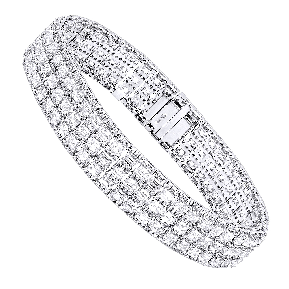 Unique 18K Gold Round & Baguette Diamond Tennis Bracelet for Men & Women White Image