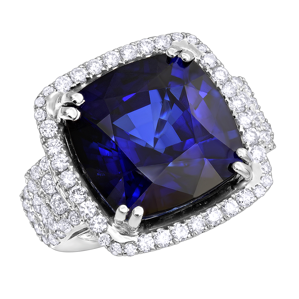 Unique 29.33 Carat Radiant Blue Sapphire & Diamond Ring for Women 18k Gold White Image