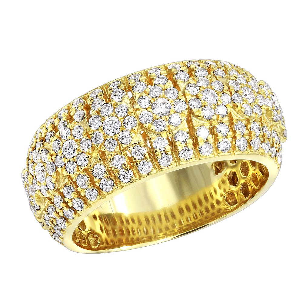 Unique Diamond Band For Men in 14k Gold by LUXURMAN Yellow Image