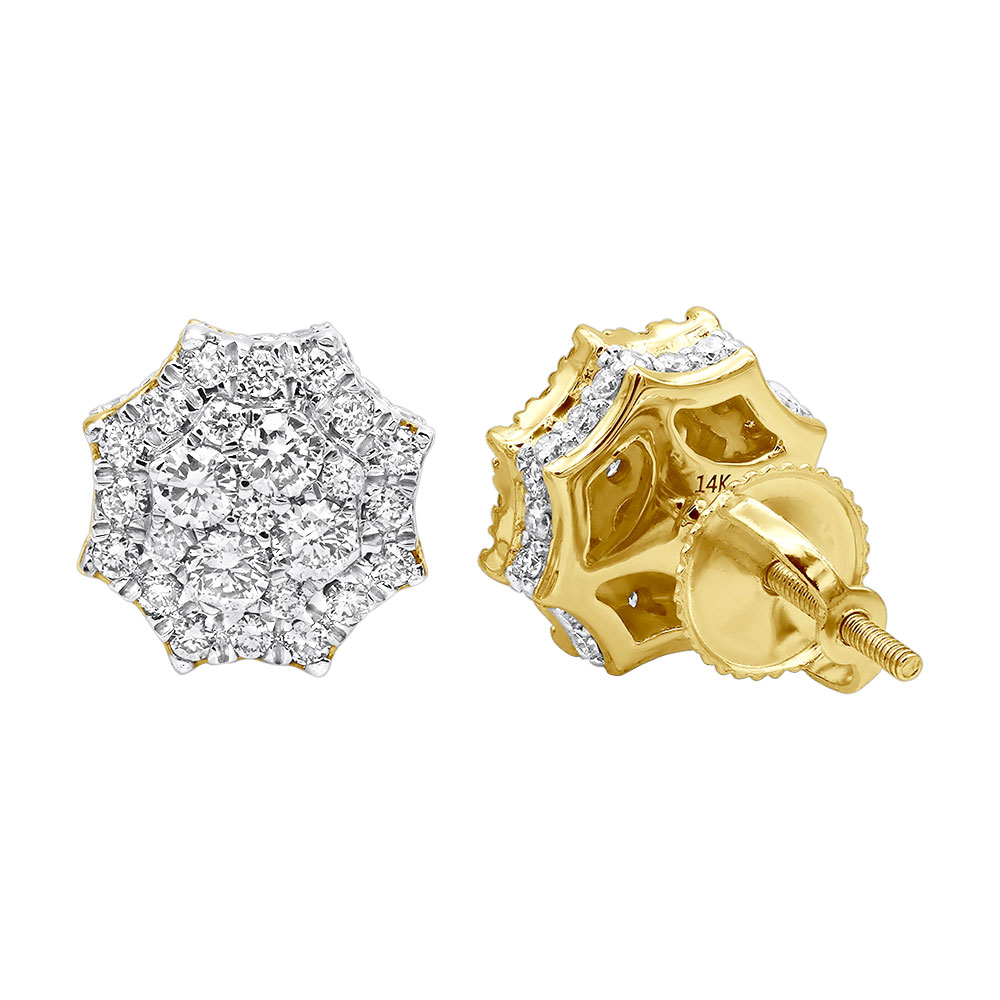 Unique Diamond Cluster Earrings in 14k Gold Octagonal Shape Studs 1.2 Carat Yellow Image