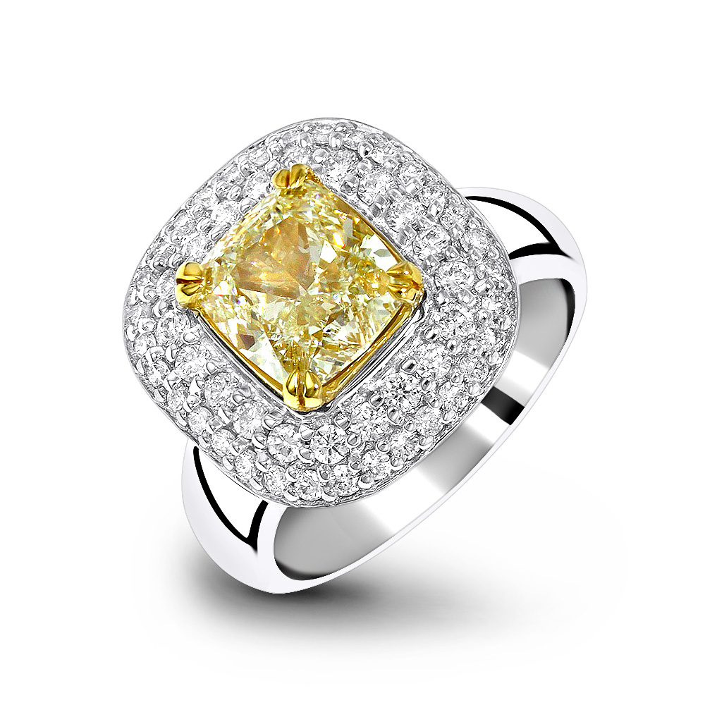 Unique Fancy Yellow Diamond Double Halo Engagement Ring 3.15ct White Image