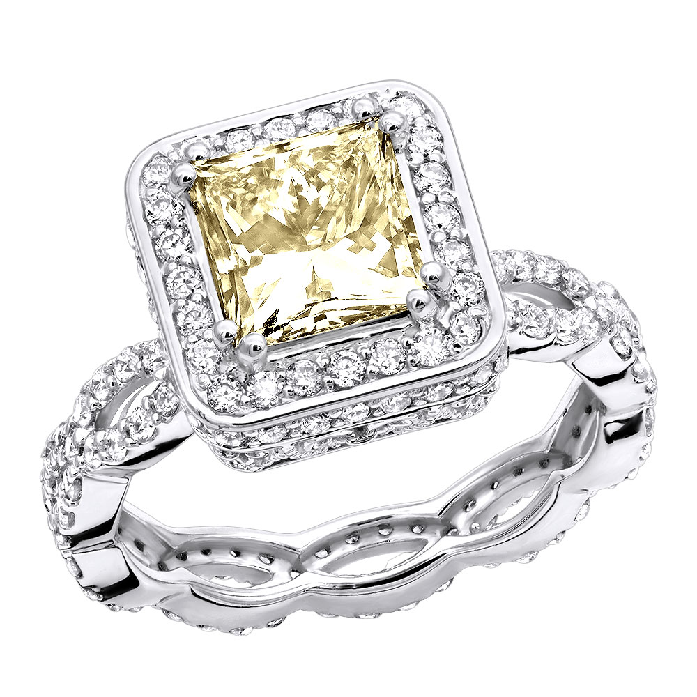 Unique Halo Princess Cut Yellow Diamond Eternity Engagement Ring 14k Gold White Image