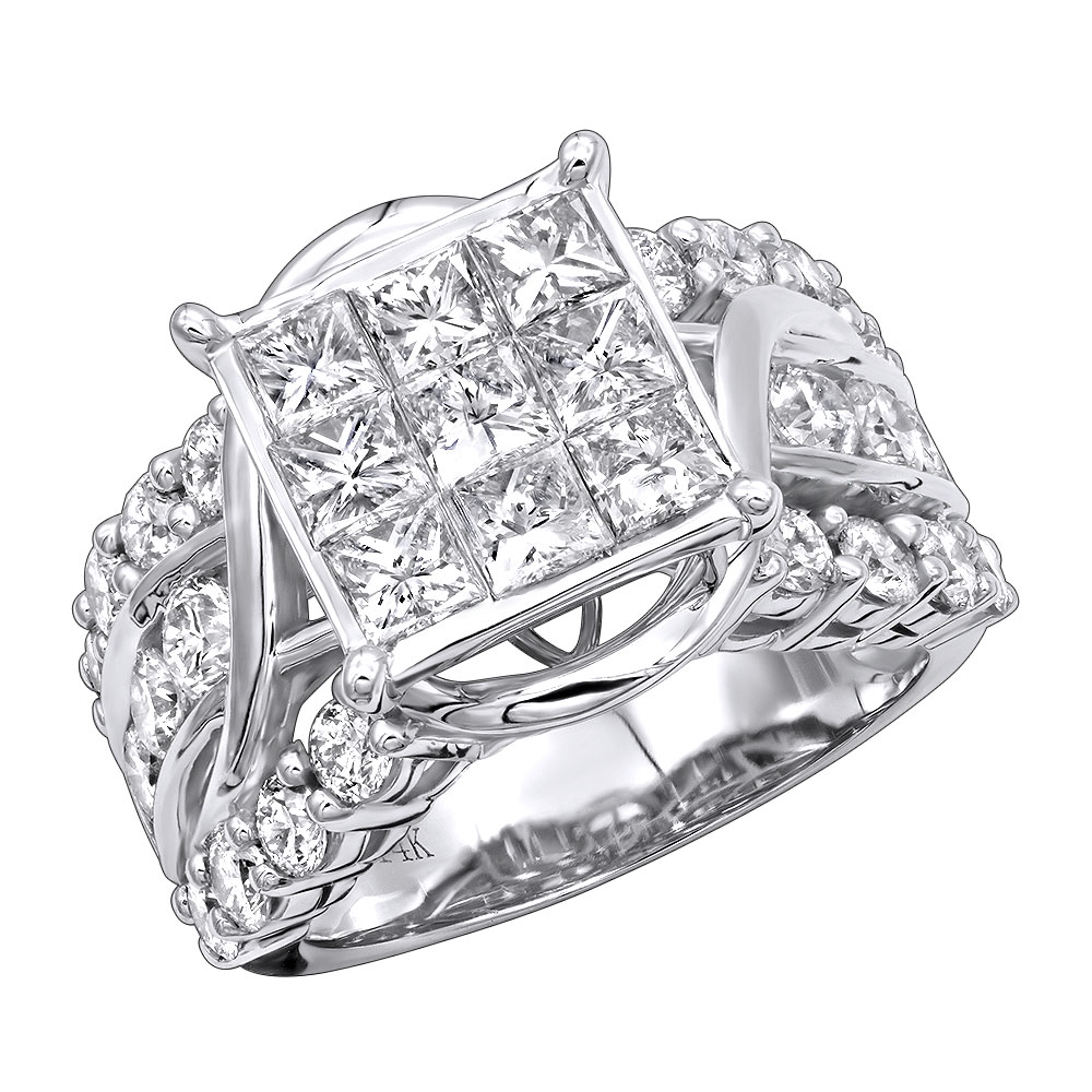 Unique Luxurman 14K Gold Round & Princess Cut Diamond Engagement Ring 4.5ct White Image
