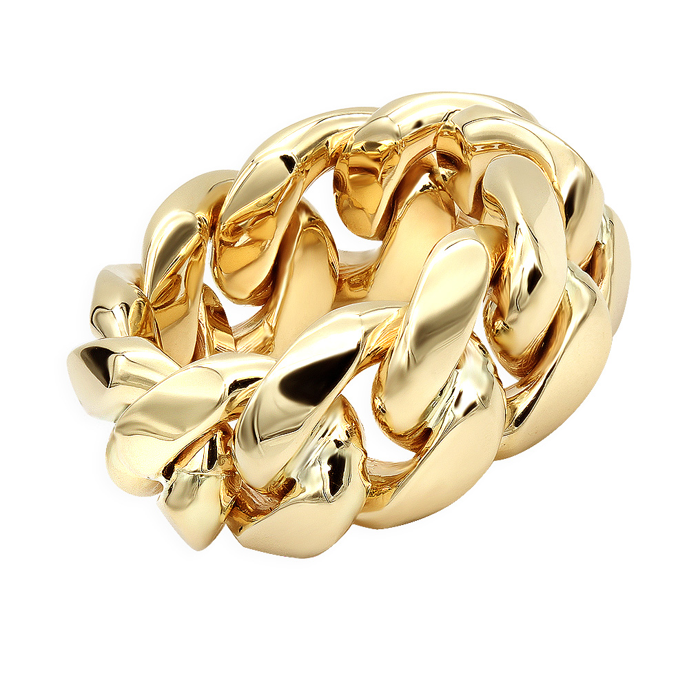 Unique Mens Solid Gold Rings 14k Gold Cuban Link Chain Ring