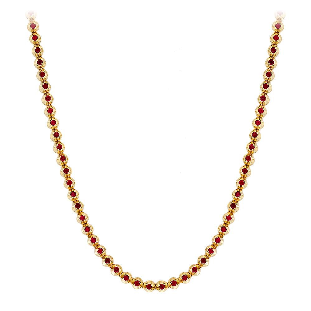 Unique Mens Tennis Chains 10K Gold Ruby Necklace for Men 10.5ct by Luxurman Yellow Image