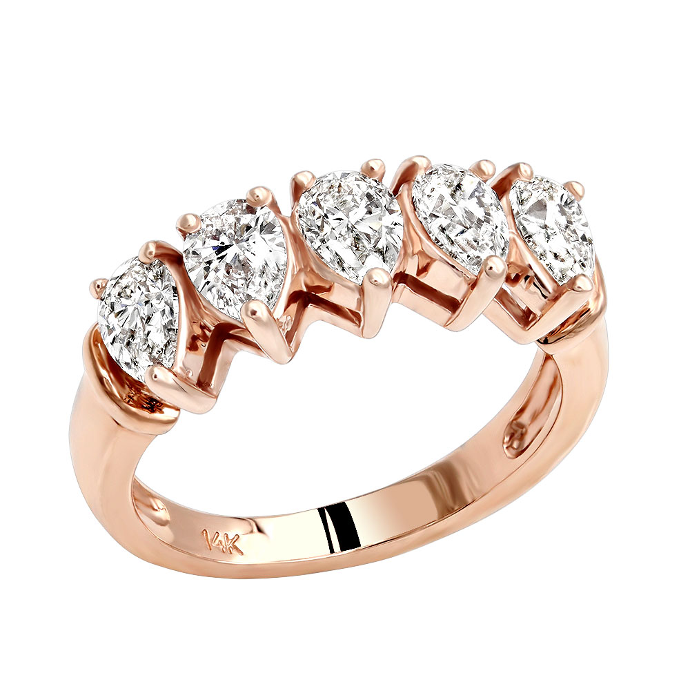 Unique Pear Diamond Wedding Rings 5 Stone Anniversary Band for Women 1.6ct Rose Image