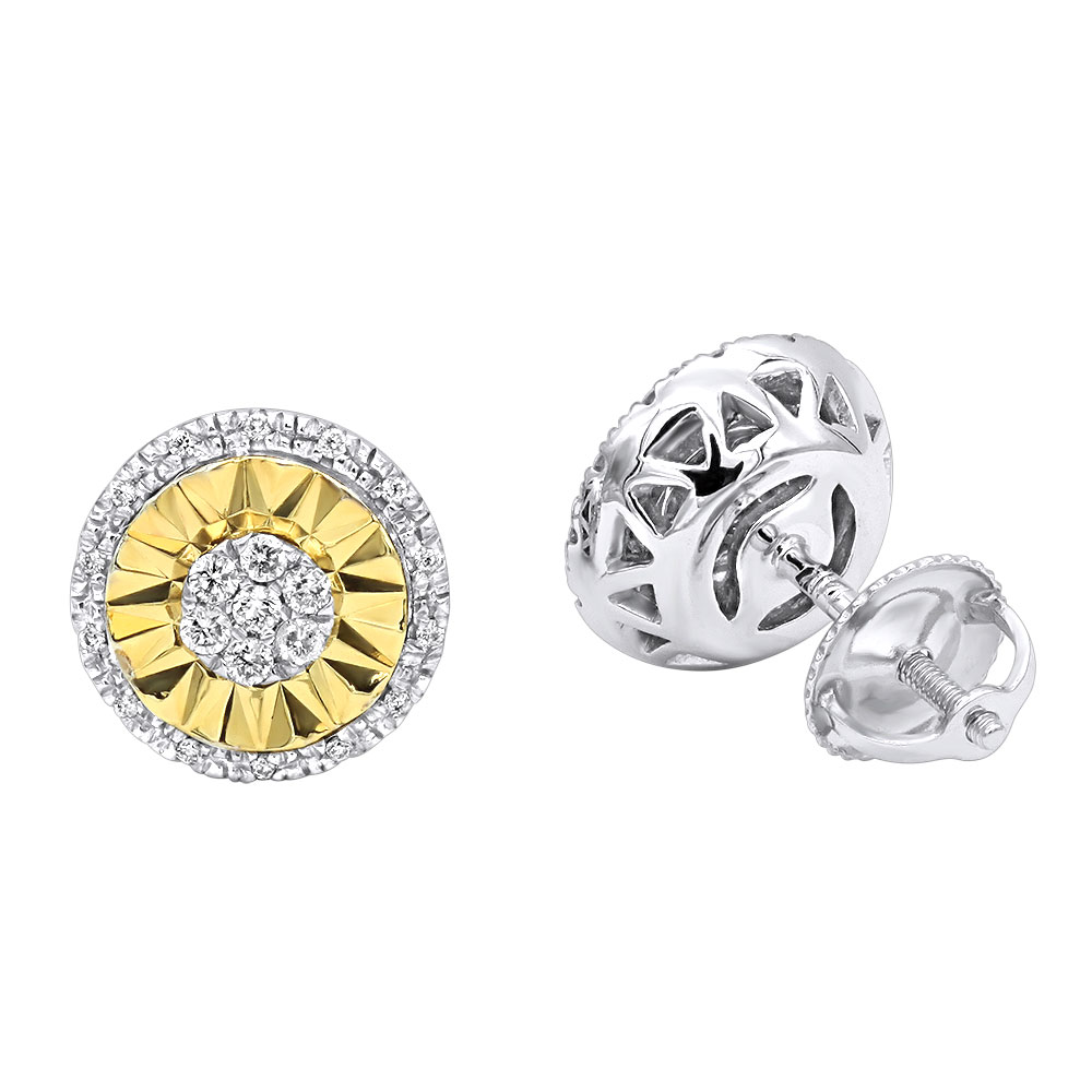 Unique Real 14K Gold Large Diamond Stud Earrings Clusters 2 Carat Halo Look White Image