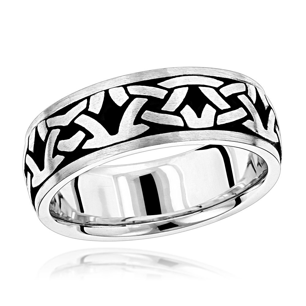 Unique Solid 14K Gold Black Enamel Ornament Wedding Band for Men by Luxurman White Image