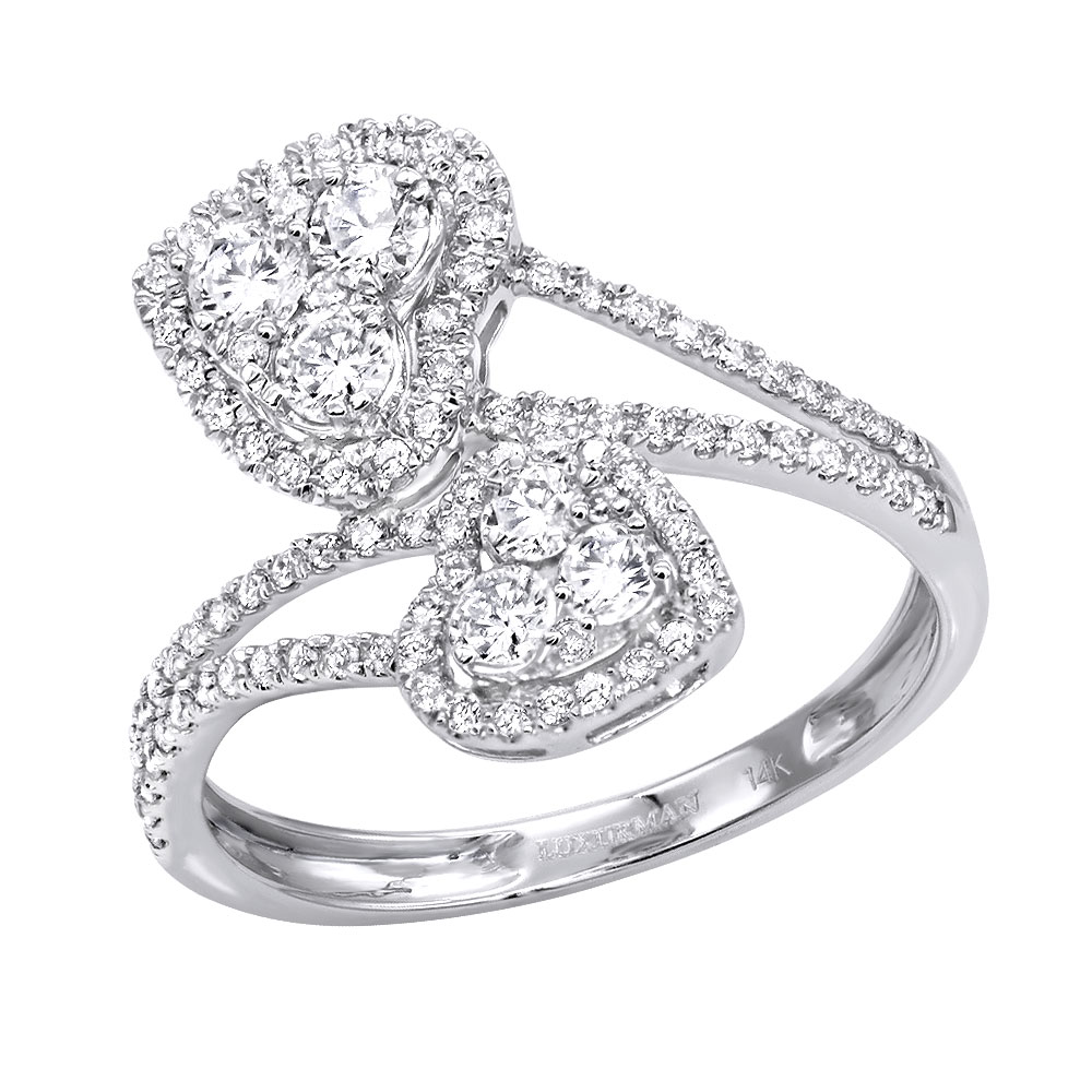Unique Two Hearts Diamond Ring For Women 0.8CT 14K Gold by Luxurman White Image