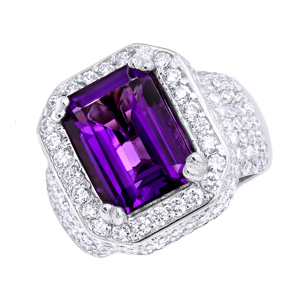 Unique Vintage Style Amethyst and Diamonds Ring 5 Carats in 14k Gold White Image